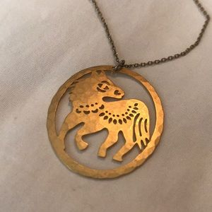 David Aubrey Zodiac Horse Necklace Gold Plated